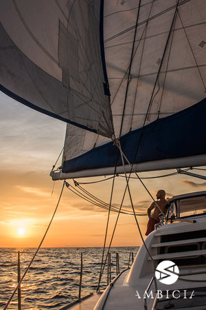 sunset with catamaran